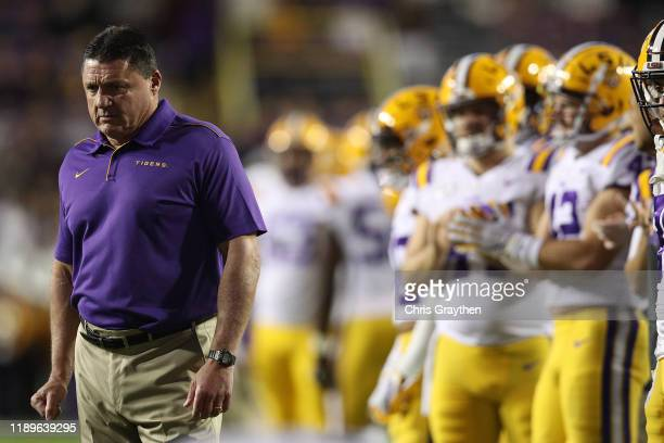 Head coach Ed Ogeron of the LSU Tigers looks on prior to the game against the Arkansas Razorbacks at Tiger Stadium on November 23, 2019 in Baton...