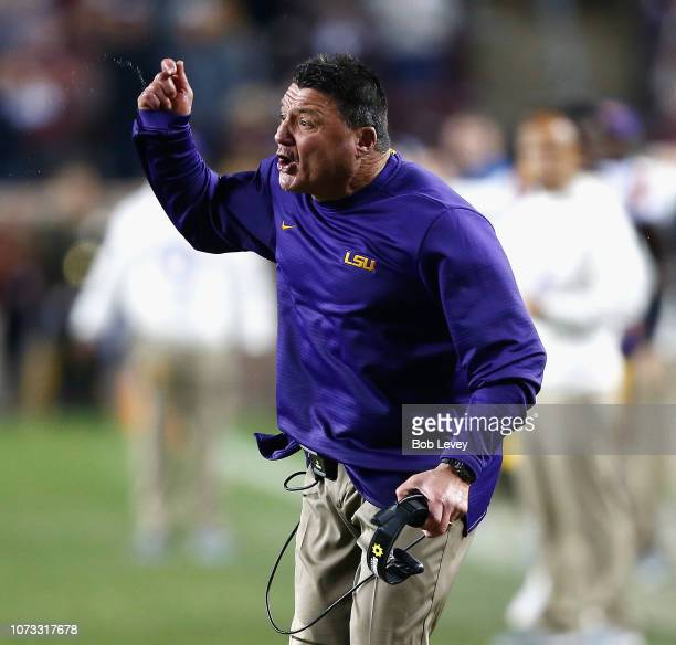 head coach Ed Oregon of the LSU Tigers reacts to the officials call abasing his team during overtime against the Texas AM Aggiesat Kyle Field on...