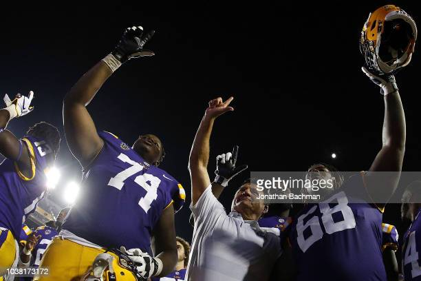 Head coach Ed Orgeron of the LSU Tigers celebrates a win over Louisiana Tech Bulldogs after a game at Tiger Stadium on September 22 2018 in Baton...