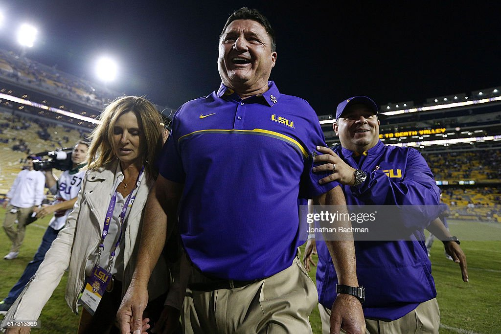 Head coach Ed Orgeron of the LSU Tigers celebrates after a game against the Mississippi Rebels at Tiger Stadium on October 22, 2016 in Baton Rouge, Louisiana. LSU won 38-21.