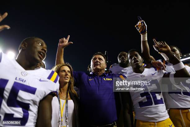 Head coach Ed Orgeron of the LSU Tigers celebrates after a game against the Chattanooga Mocs at Tiger Stadium on September 9 2017 in Baton Rouge...