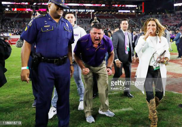 Head coach Ed Orgeron of the LSU Tigers celebrates after defeating the Alabama Crimson Tide 4641 at BryantDenny Stadium on November 09 2019 in...