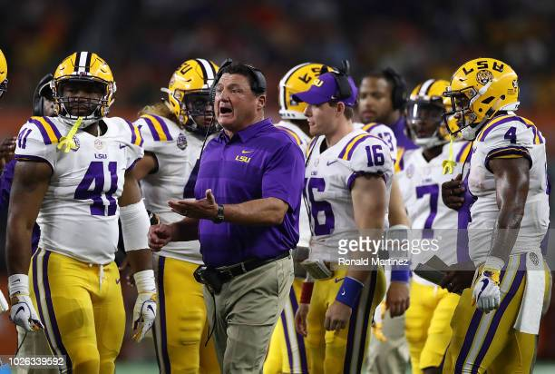 Head coach Ed Orgeron of the LSU Tigers during the AdvoCare Classic at ATT Stadium on September 2 2018 in Arlington Texas