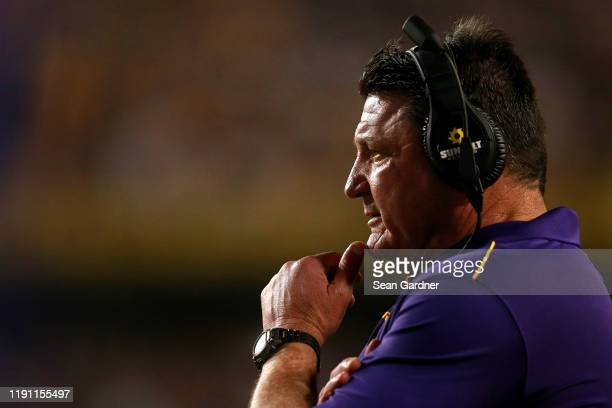 Head coach Ed Orgeron of the LSU Tigers looks on during a game against the Texas A&M Aggies at Tiger Stadium on November 30, 2019 in Baton Rouge,...