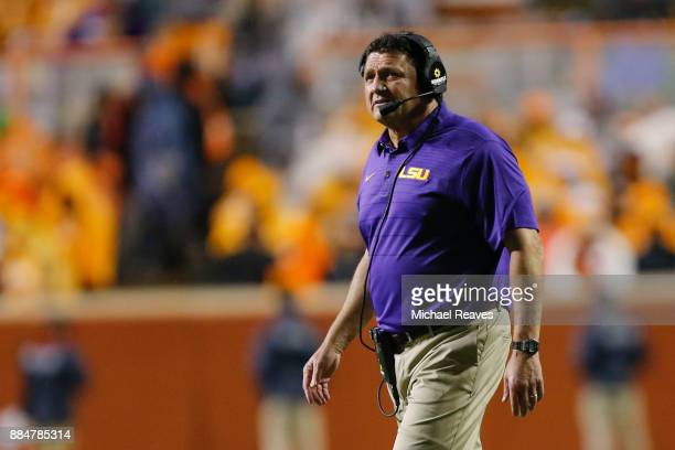 Head coach Ed Orgeron of the LSU Tigers looks on from the sideline against the Tennessee Volunteers at Neyland Stadium on November 18 2017 in...