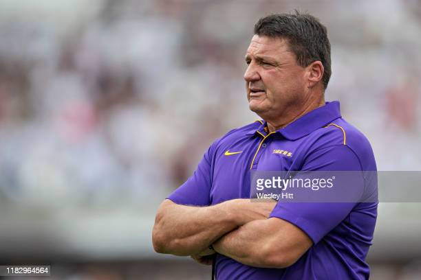 Head Coach Ed Orgeron of the LSU Tigers on the sidelines during a game against the Mississippi State Bulldogs at Davis Wade Stadium on October 19...