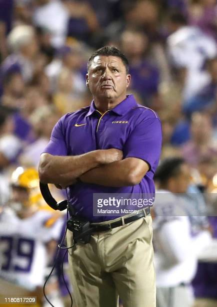 Head coach Ed Orgeron of the LSU Tigers on the sidelines during the first quarter against the Florida Gators at Tiger Stadium on October 12 2019 in...