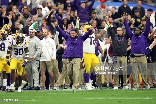 Head coach Ed Orgeron of the LSU Tigers reacts after the Tigers beat the UCF Knights 4032 in the PlayStation Fiesta Bowl at State Farm Stadium on...