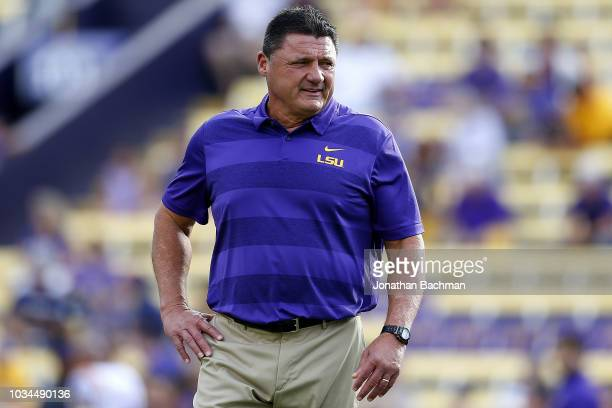 Head coach Ed Orgeron of the LSU Tigers reacts during a game against the Southeastern Louisiana Lions at Tiger Stadium on September 8 2018 in Baton...