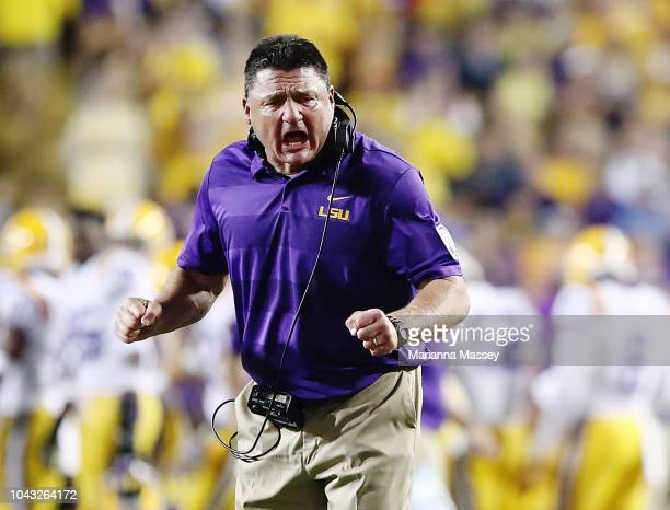 Head coach Ed Orgeron of the LSU Tigers reacts during a game against the Mississippi Rebels at Tiger Stadium on September 29 2018 in Baton Rouge...