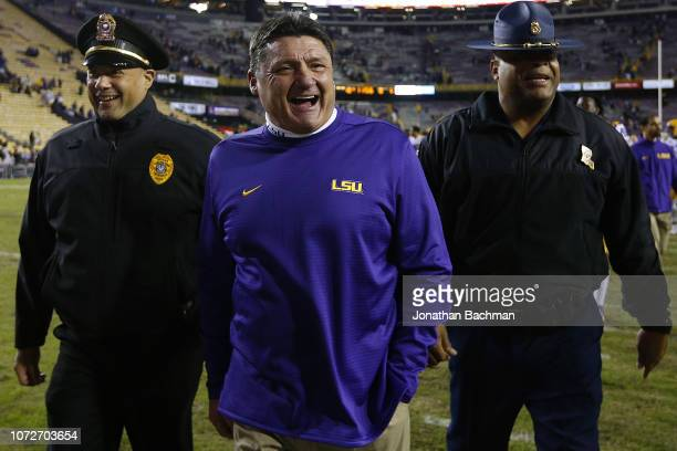 Head coach Ed Orgeron of the LSU Tigers reacts during a game against the Rice Owls at Tiger Stadium on November 17 2018 in Baton Rouge Louisiana