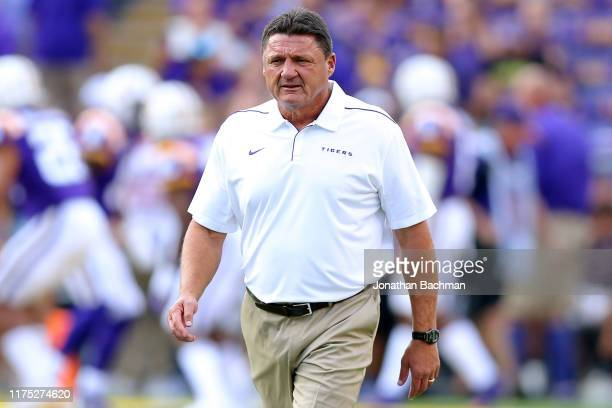 Head coach Ed Orgeron of the LSU Tigers reacts during a game against the Northwestern State Demons at Tiger Stadium on September 14 2019 in Baton...