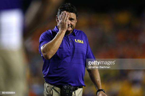 Head coach Ed Orgeron of the LSU Tigers reacts during a game against the Syracuse Orange at Tiger Stadium on September 23 2017 in Baton Rouge...