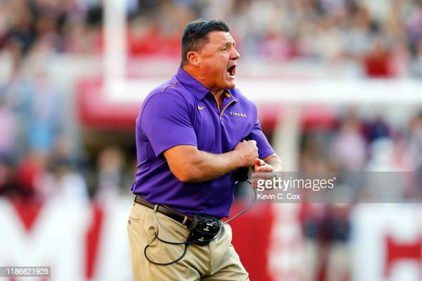 Head coach Ed Orgeron of the LSU Tigers reacts during the first half against the Alabama Crimson Tide in the game at BryantDenny Stadium on November...