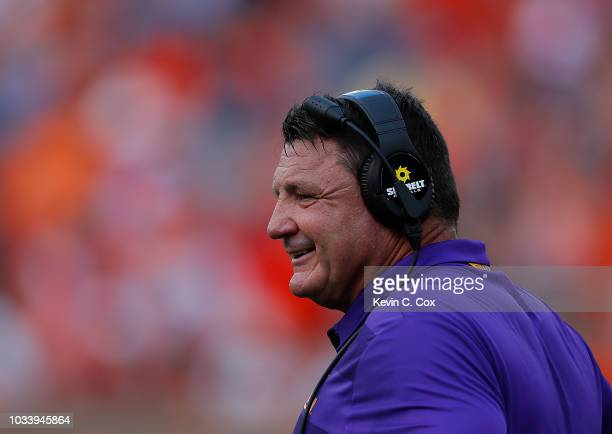 Head coach Ed Orgeron of the LSU Tigers reacts during the game against the Auburn Tigers at JordanHare Stadium on September 15 2018 in Auburn Alabama