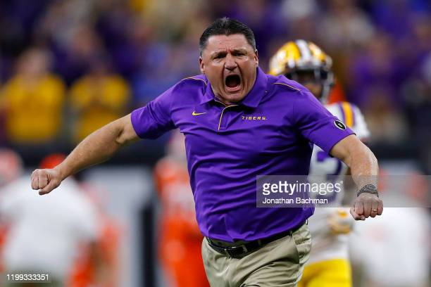 Head coach Ed Orgeron of the LSU Tigers reacts prior to the College Football Playoff National Championship game against the Clemson Tigers at...