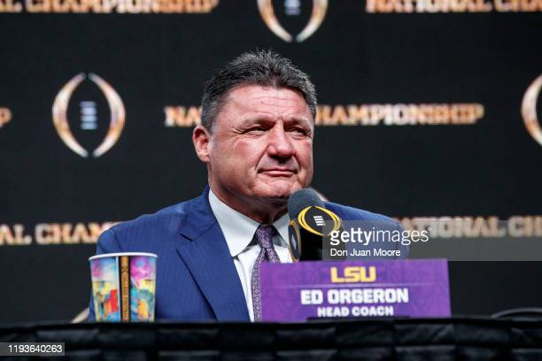 Head Coach Ed Orgeron of the LSU Tigers talks with the media during the press conference after the College Football Playoff National Championship...