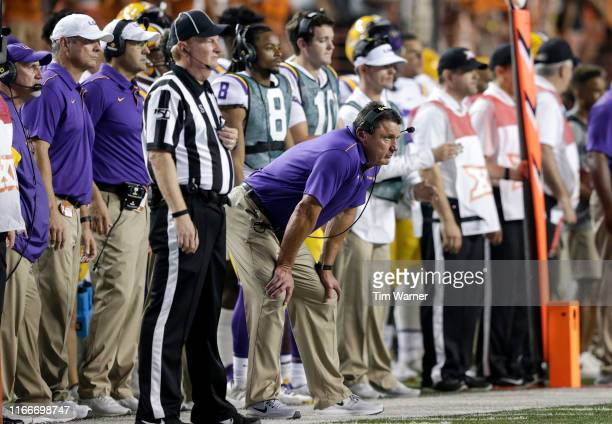 Head coach Ed Orgeron of the LSU Tigers watches from the sideline in the second half against the Texas Longhorns at Darrell K RoyalTexas Memorial...