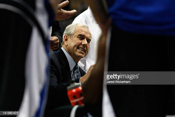 Head coach Eddie Biedenbach of the UNC Asheville Bulldogs reacts during a break in play against the Syracuse Orange in the second round of the 2012...