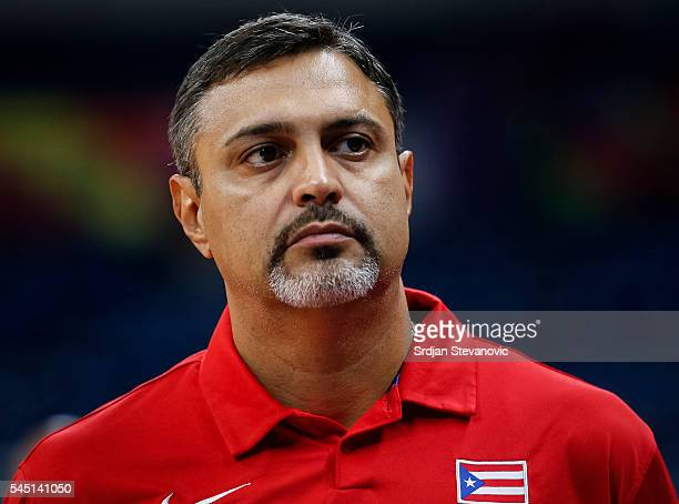 Head coach Eddie Casiano of Puerto Rico looks on during the 2016 FIBA World Olympic Qualifying basketball Group A match between Puerto Rico and...