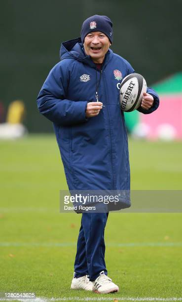 Head Coach Eddie Jones issues instructions during an England training session at The Lensbury on October 16 2020 in Teddington England