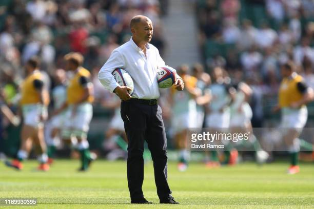 Head coach Eddie Jones of England looks on during the warm up prior to the 2019 Quilter International between England and Ireland at Twickenham...