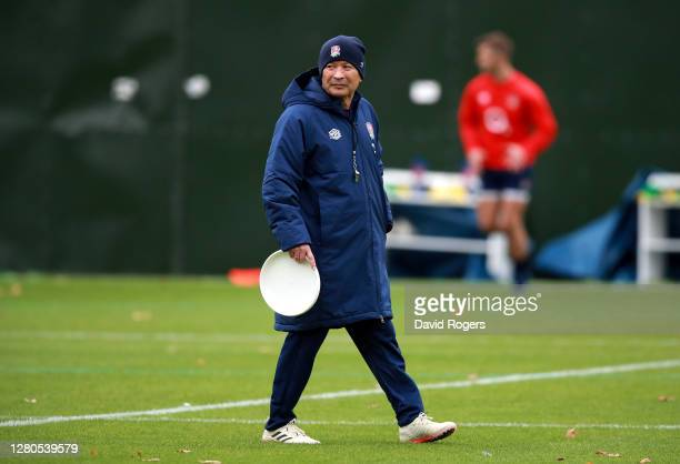 Head Coach Eddie Jones watches during an England training session at The Lensbury on October 16 2020 in Teddington England