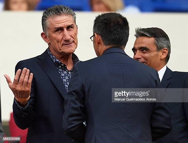 Head Coach Edgardo Bauza of Argentina National Team speaks to President Josep Maria Bartomeu of FC Barcelona ahead of the Joan Gamper trophy match...