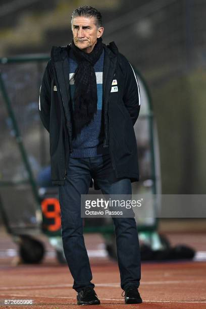 Head coach Edgardo Bauza of Saudi Arabia in action during the International Friendly match between Portugal and Saudi Arabia at Estadio do Fontelo on...
