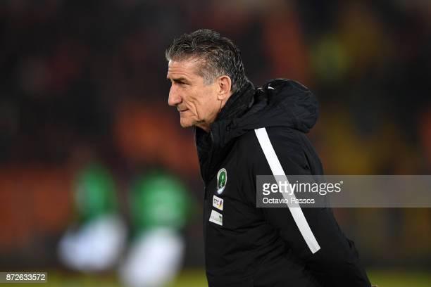 Head coach Edgardo Bauza of Saudi Arabia looks on during the International Friendly match between Portugal and Saudi Arabia at Estadio do Fontelo on...