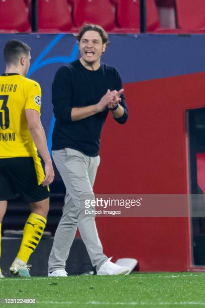 Head coach Edin Terzic of Borussia Dortmund gestures during the UEFA Champions League Round of 16 match between Sevilla FC and Borussia Dortmund at...