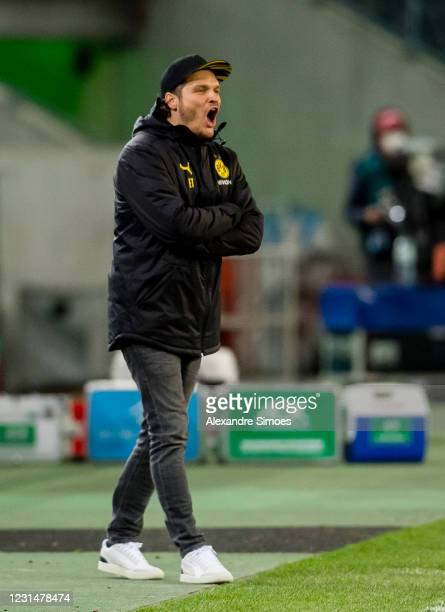 March 02: Head coach Edin Terzic of Borussia Dortmund in action during the DFB Cup quarter-final between Borussia Mönchengladbach and Borussia...