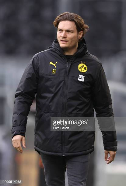 Head coach Edin Terzic of Dortmund is seen during the Bundesliga match between Borussia Dortmund and FC Augsburg at Signal Iduna Park on January 30,...