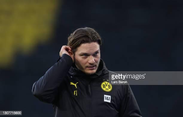 Head coach Edin Terzic of Dortmund is seen during the Bundesliga match between Borussia Dortmund and Hertha BSC at Signal Iduna Park on March 13,...