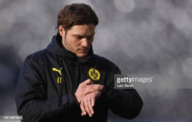 Head coach Edin Terzic of Dortmund looks on prior to the Bundesliga match between Borussia Dortmund and TSG Hoffenheim at Signal Iduna Park on...