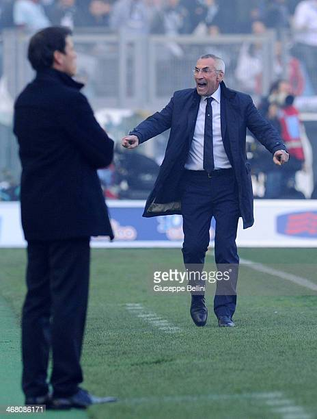 Head coach Edoardo Reja of Lazio gestures during the Serie A match between SS Lazio and AS Roma at Stadio Olimpico on February 9 2014 in Rome Italy