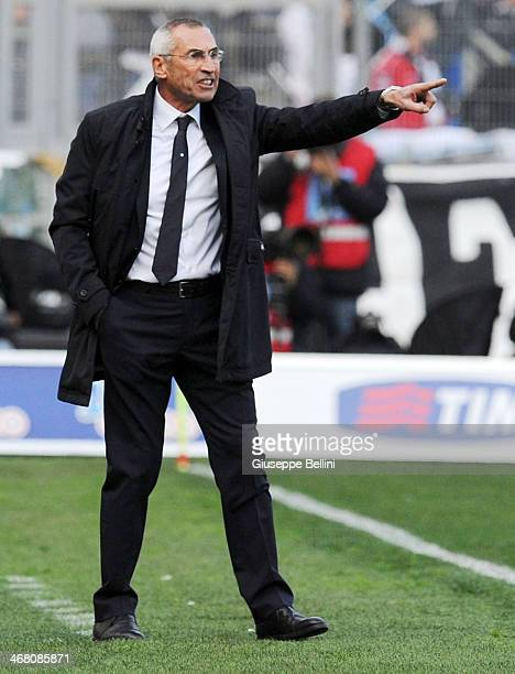 Head coach Edoardo Reja of Lazio issues instructions during the Serie A match between SS Lazio and AS Roma at Stadio Olimpico on February 9 2014 in...