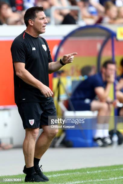 Head coach Eduardo Berizzo of Bilbao runs with the ball during the second semi final match between FC Fulham and Athletic Bilbao at...