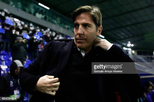 Head coach Eduardo Berizzo of RC Celta de Vigo fits his coat as he entesr to the pitch prior to start the Copa del Rey semifinal second leg match...