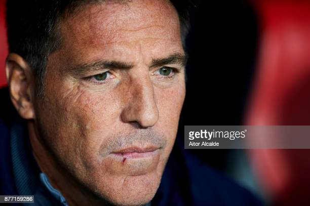 Head coach Eduardo Berizzo of Sevilla FC looks on prior to the start the UEFA Champions League group E match between Sevilla FC and Liverpool FC at...