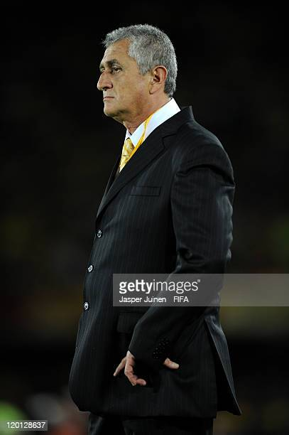 Head coach Eduardo Lara of Colombia follows his players during the FIFA U20 World Cup Colombia 2011 group A match between Colombia and France at...