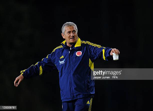Head coach Eduardo Lara of Colombia gestures during a training session ahead of their group stage FIFA U20 World Cup Colombia 2011 match against Mali...