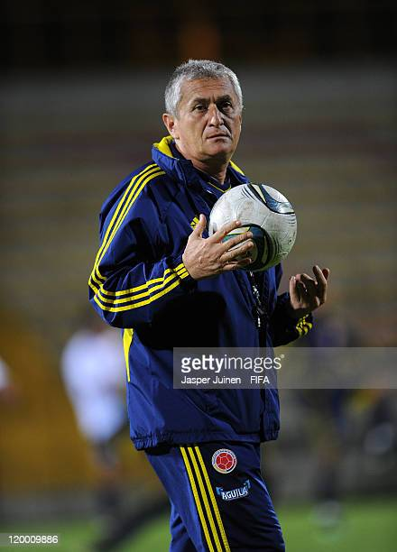 Head coach Eduardo Lara of Colombia juggles the ball during a training session ahead of their group stage FIFA U20 World Cup Colombia 2011 match...