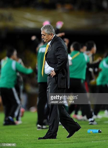 Head coach Eduardo Lara of Colombia reacts after his team conceded their third goal during the FIFA U20 World Cup Colombia 2011 quarter final match...