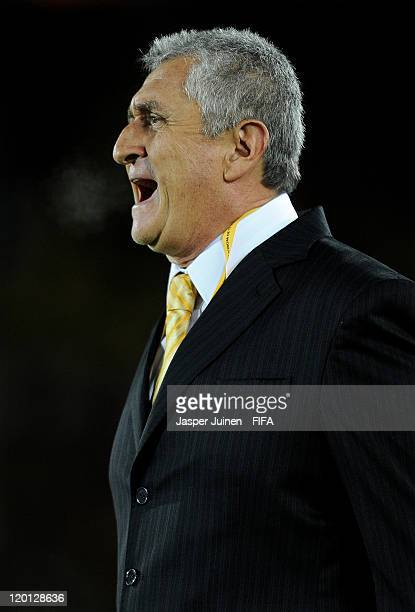 Head coach Eduardo Lara of Colombia reacts to his players during the FIFA U20 World Cup Colombia 2011 group A match between Colombia and France at...