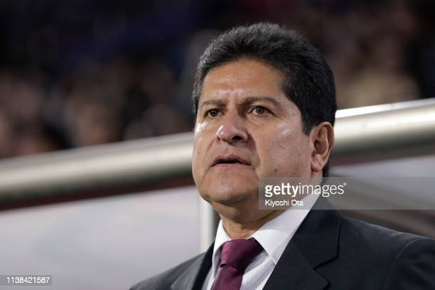 Head coach Eduardo Villegas of Bolivia looks on prior to the international friendly match between Japan and Bolivia at Noevir Stadium Kobe on March...