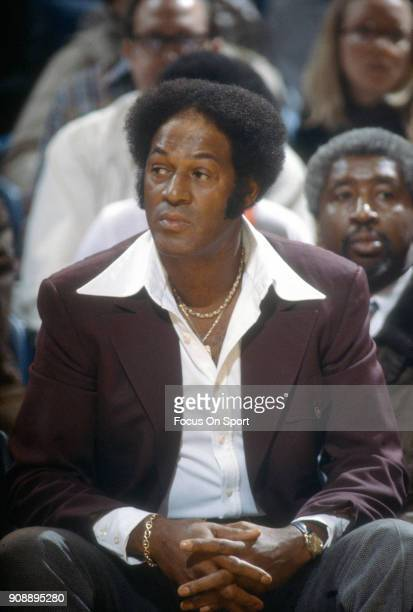 Head coach Elgin Baylor of the Utah Jazz looks on against the Washington Bullets during an NBA basketball game circa 1978 at the Capital Centre in...