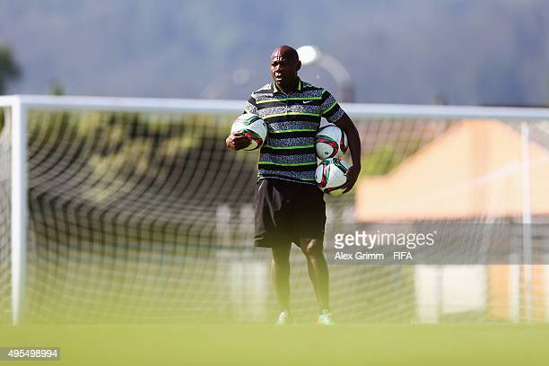 Head coach Emmanuel Amuneke looks on during a Nigeria training session during the FIFA U-17 World Cup Chile 2015 at Estadio Municipal on November 3,...
