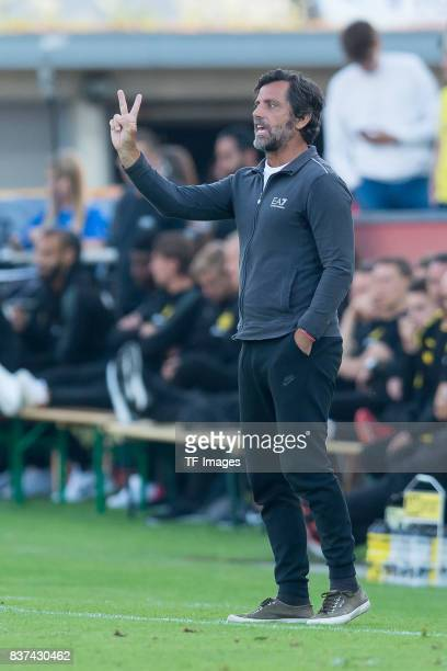 Head coach Enrique Sanchez Flores of Espanyol Barcelona gestures during a friendly match between Espanyol Barcelona and Borussia Dortmund as part of...