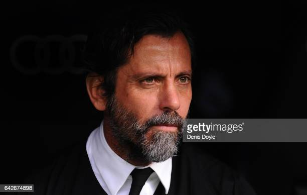 Head coach Enrique Sanchez Flores of RCD Espanyol looks on before the the La Liga match between Real Madrid CF and RCD Espanyol at the Bernabeu...